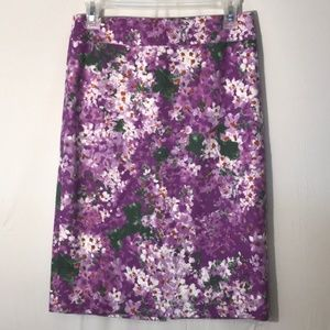 J. Crew Purple Floral Pencil Skirt Skirt 00